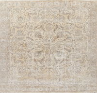 Antique Tabriz Muted Distressed Persian Rug 9x9 Square