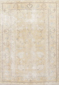 Antique Tabriz Muted Distressed Persian Rug 6x9