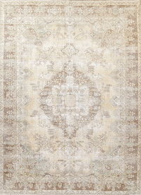 Antique Tabriz Muted Distressed Persian Rug 9x12