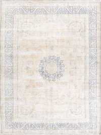 Antique Muted Distressed Kerman Ivory/Blue Persian Wool Rug 10x13