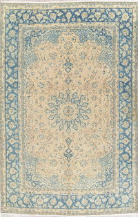 Muted Floral Mashad Persian Area Rug 7x11