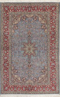 Light Blue Masterpiece Wool/Silk Isfahan Persian Rug 5x8