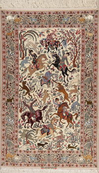 Hunting Design Isfahan Persian Wool Silk Rug 5x8