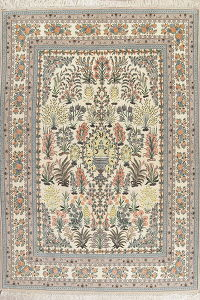 Collectible Floral Isfahan Persian Wool Silk Rug 8x12