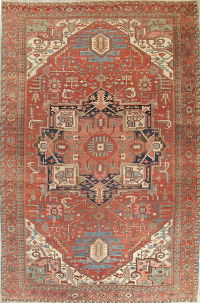 Pre-1900 Vegetable Dye Heriz Persian Wool Rug 12x18