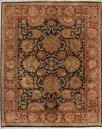 All-Over Black Floral Agra Persian Wool Rug 8x10
