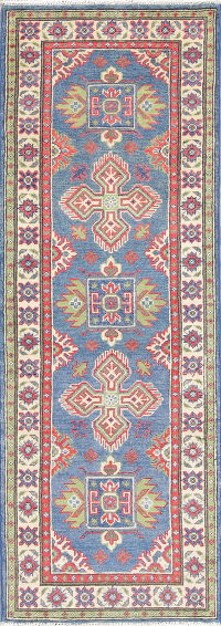 Light Blue Kazak-Chechen Oriental Runner Rug 2x6