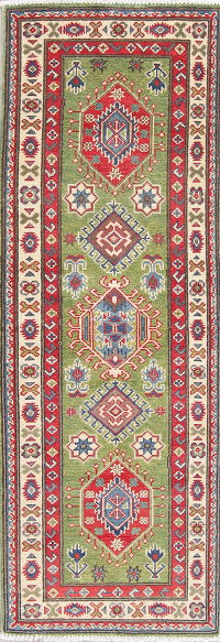 Green Kazak Pakistan Wool Rug 2x6 Runner