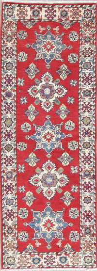 Red Kazak-Chechen Oriental Runner Rug 2x6