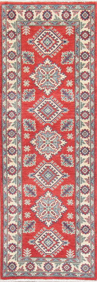 Geometric Kazak Pakistan Wool Runner Rug 2x6