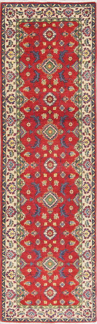 Red Kazak-Chechen Oriental Runner Rug 3x9