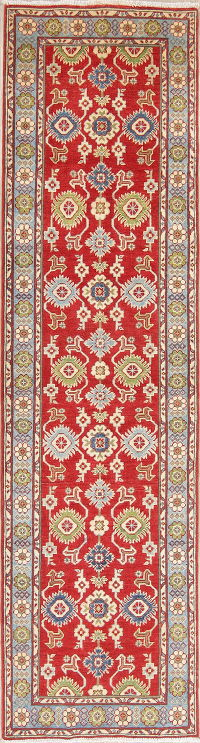 Red Kazak-Chechen Oriental Rug 3x10 Runner