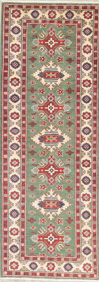 Green Kazak-Chechen Oriental Wool Rug 3x8 Runner
