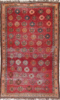 Antique Red Lori Persian Tribal Wool Rug 4x7