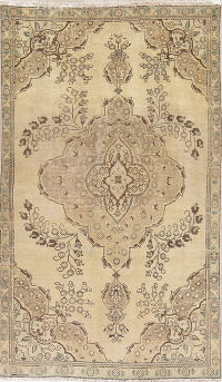 Muted Tabriz Persian Wool Rug 5x8