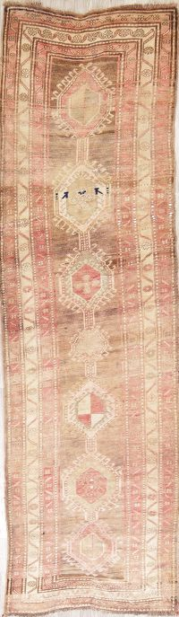 Muted Distressed Ardebil Persian Runner Rug 4x13