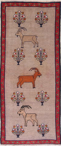 Animal Pictorial Gabbeh Shiraz Persian Runner Rug 4x8