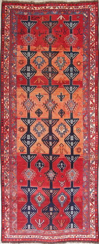 Antique Geometric Qashqai Lori Persian Wool Rug 5x11
