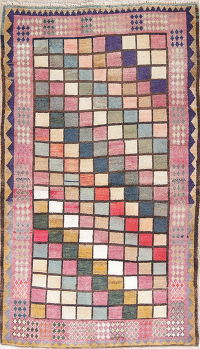 Checked Gabbeh Shiraz Persian Wool Rug 4x6