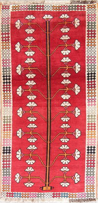 Red Gabbeh Shiraz Persian Rug 3x6 Runner