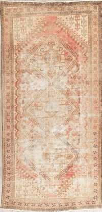 Antique Shiraz Muted Distressed Wool Rug 5x10 Runner