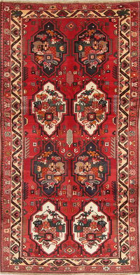 Vintage Red Bakhtiari Persian Wool Rug 5x10