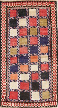 Checked Gabbeh Shiraz Persian Runner Rug 4x8