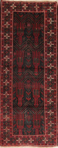 Black Balouch Persian Runner Rug 4x10
