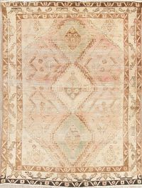 Antique Muted Distressed Sultanabad Persian Wool Rug 5x7