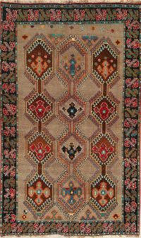 Brown Gabbeh Shiraz Persian Area Rug 5x8