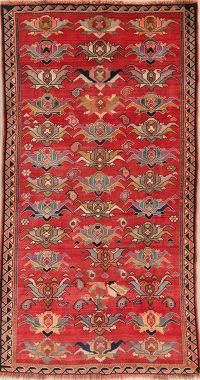Red Gabbeh Persian Runner Rug 4x8