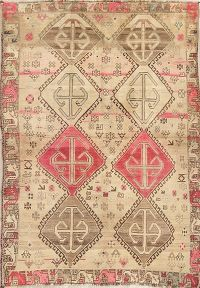 Geometric Distressed Shiraz Persian Rug 5x7