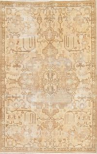 Geometric Tabriz Muted Distressed Persian Rug 5x8