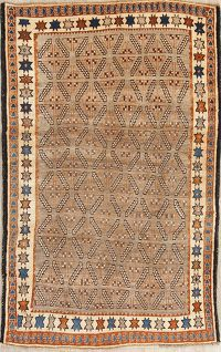Brown Gabbeh Shiraz Persian Rug 5x8