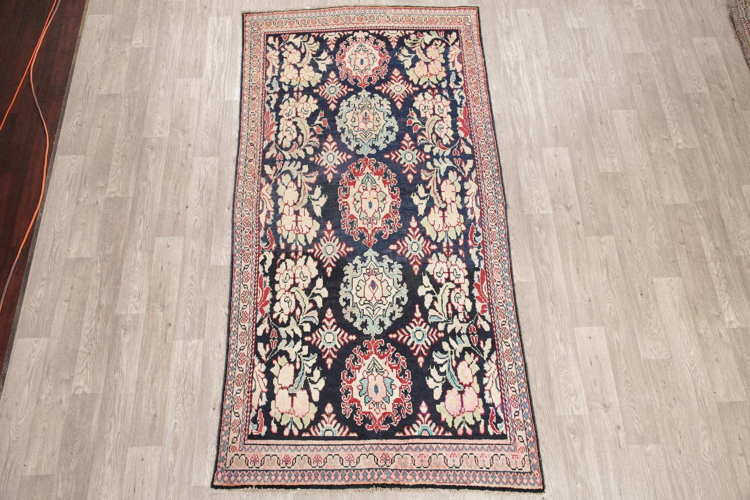 Antique Navy Blue Sultanabad Persian Runner Rug 5x9 image 2