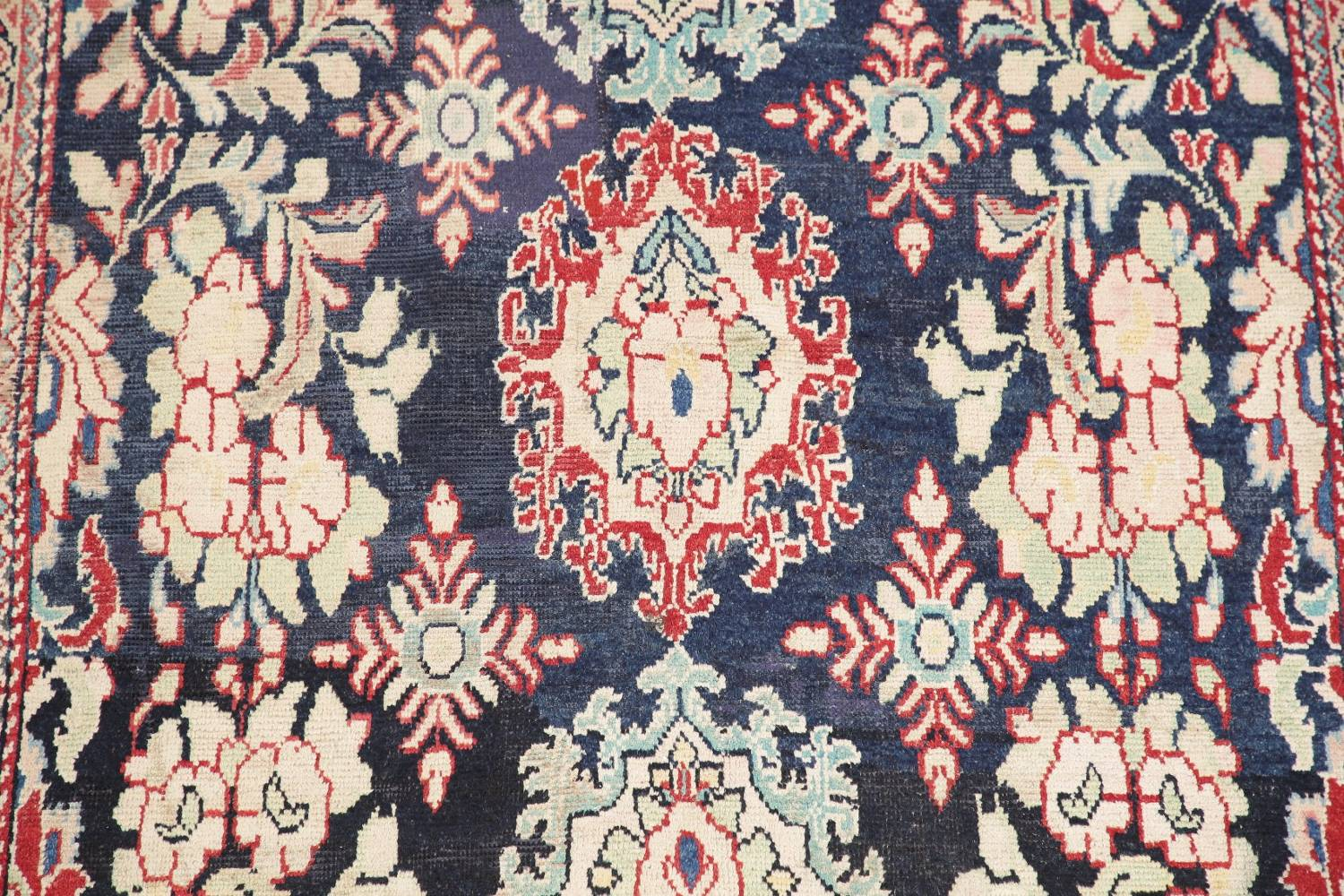 Antique Navy Blue Sultanabad Persian Runner Rug 5x9 image 4