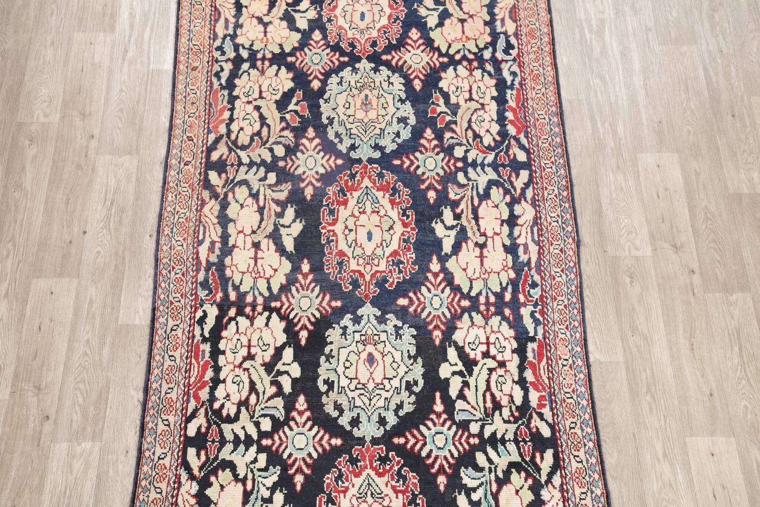 Antique Navy Blue Sultanabad Persian Runner Rug 5x9 image 3
