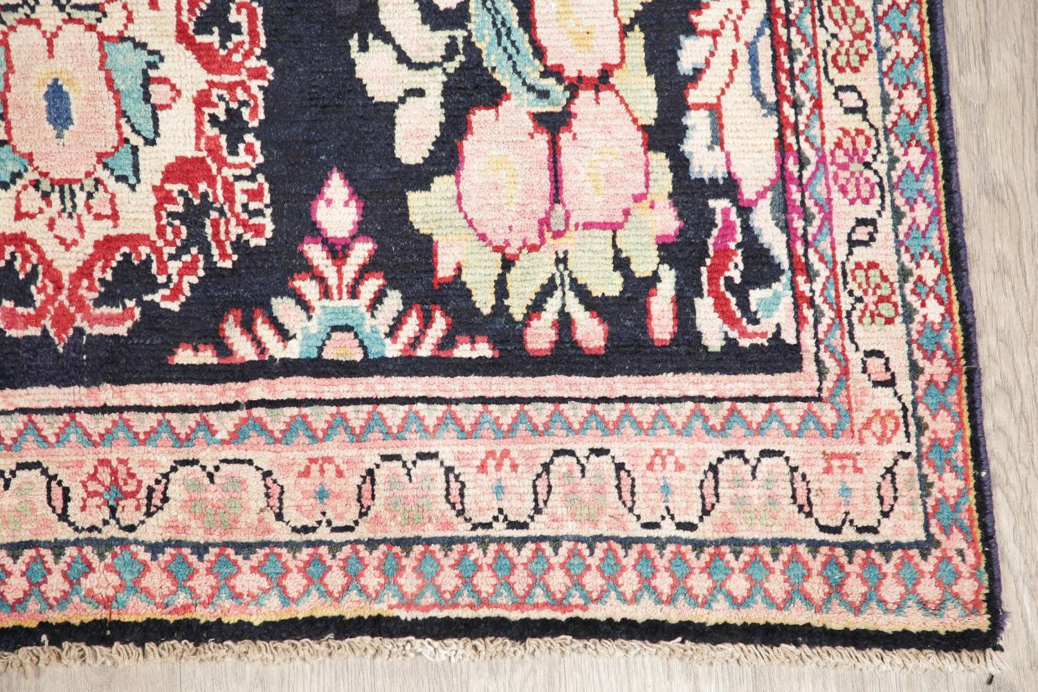 Antique Navy Blue Sultanabad Persian Runner Rug 5x9 image 6
