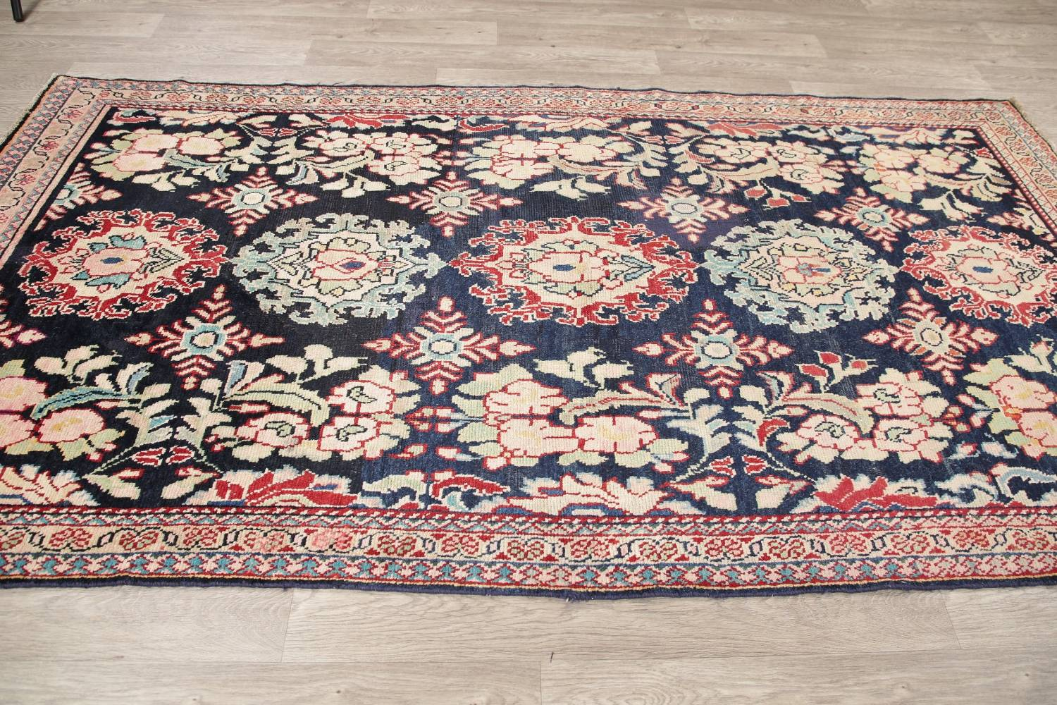Antique Navy Blue Sultanabad Persian Runner Rug 5x9 image 15