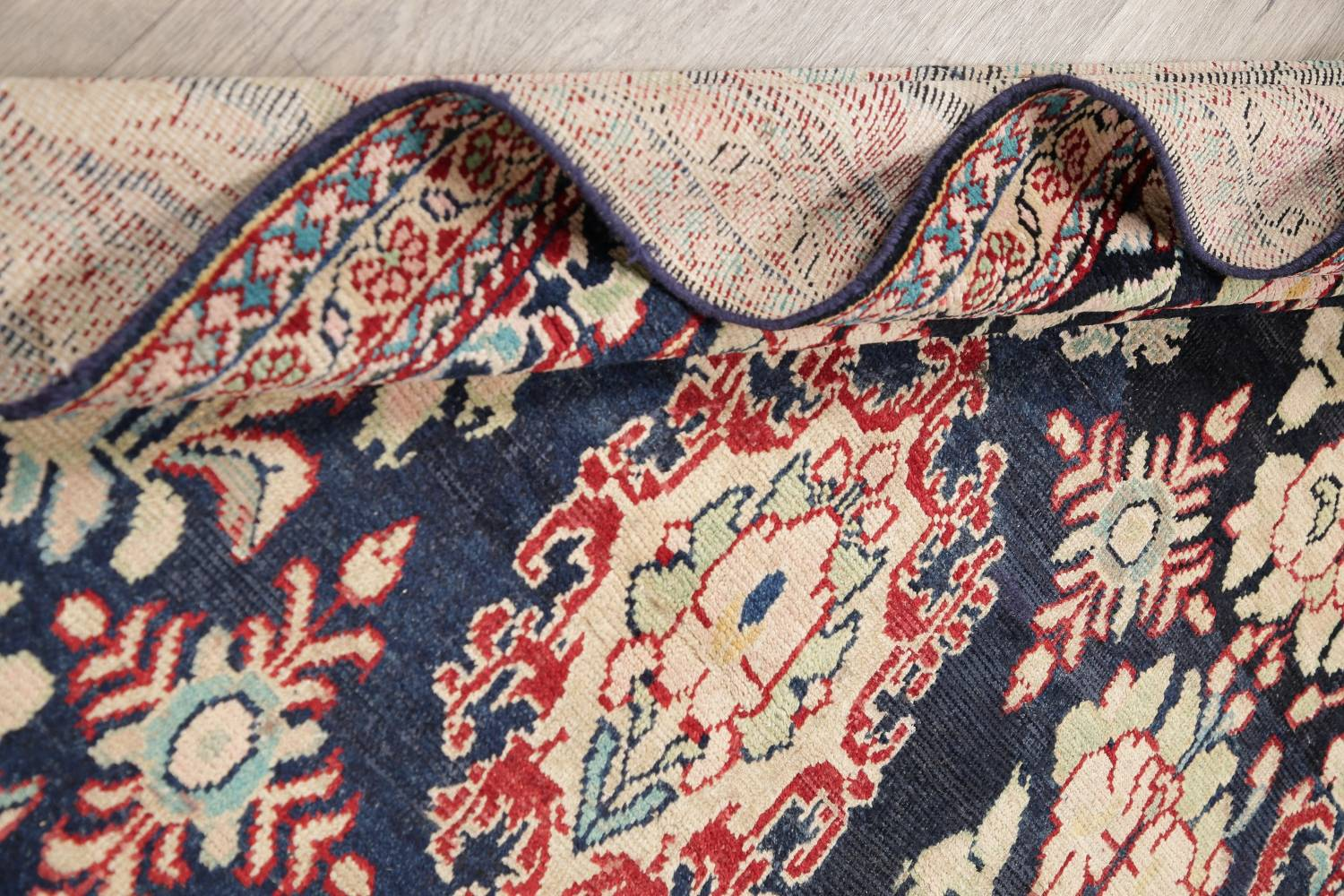 Antique Navy Blue Sultanabad Persian Runner Rug 5x9 image 18