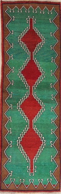 Green Gabbeh Shiraz Persian Runner Rug 3x9