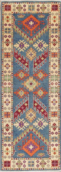 Blue Geometric Kazak Pakistan Wool Rug 2x6 Runner