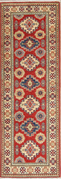 Red Kazak-Chechen Oriental Rug Runner 2x6