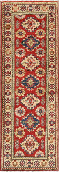 Red Kazak-Chechen Oriental Rug 2x6 Runner