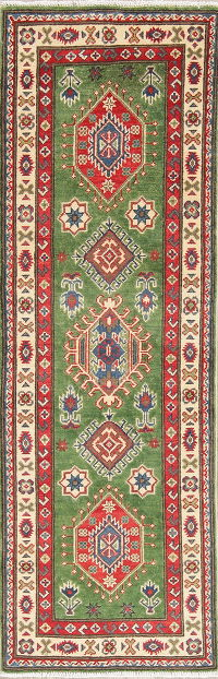 Green Kazak Pakistan Wool Runner Rug 2x6