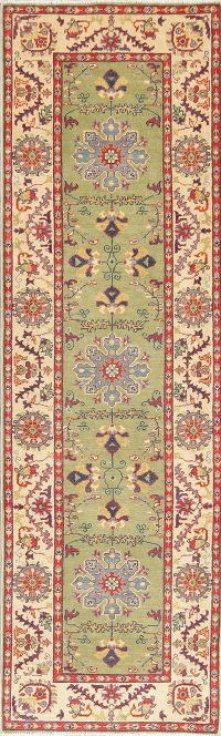 Green Kazak Pakistan Wool Rug 3x10 Runner