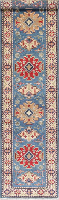 Geometric Kazak Pakistan Wool Rug 3x13 Runner