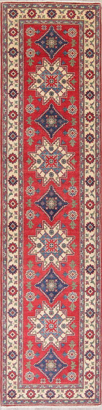 Red Kazak-Chechen Oriental Rug 3x11 Runner