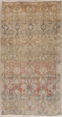 Muted Faded Distressed Sarouk Persian Runner Rug 3x6