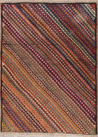 Multi-Colored Gabbeh Shiraz Persian Wool Rug 4x5